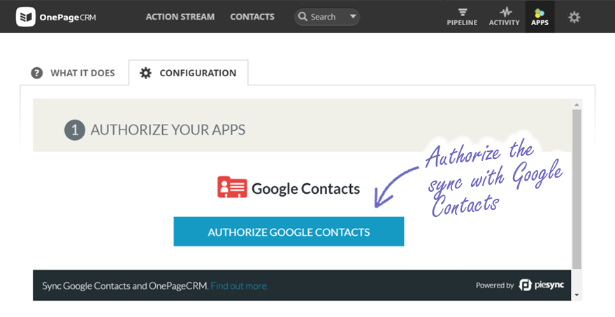 Authorizing Google Contact Sync