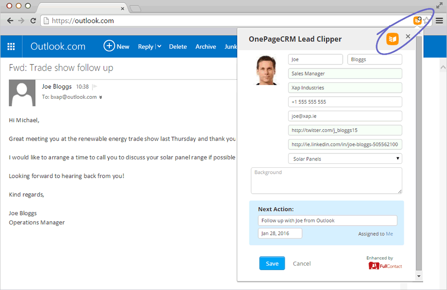 OnePageCRM Outlook Lead Clipper