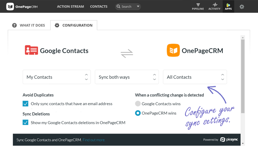 Configure Google Contacts Sync