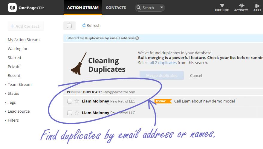 Deduplication screenshot