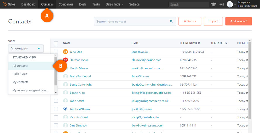 HubSpot Export Contacts