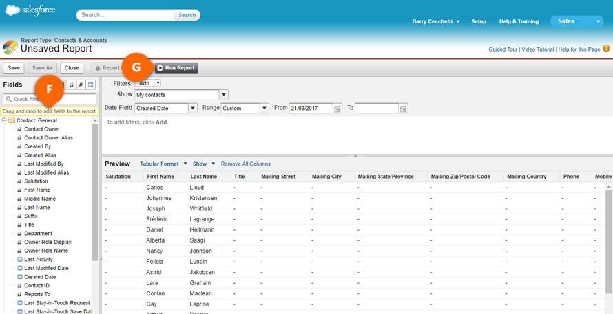 Salesforce Run Report