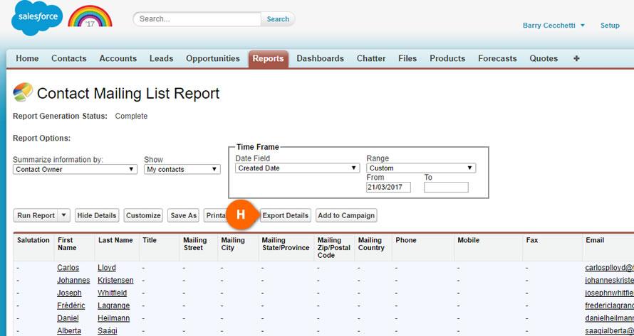 Salesforce Export Details