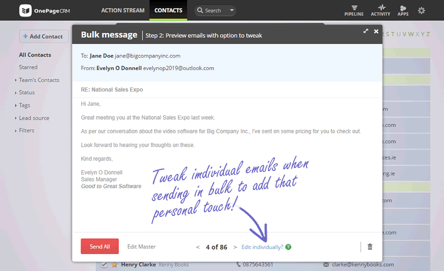 Add personalization in emails