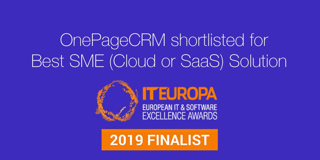 OnePageCRM nominated Best SME Solution 2019 in IT Europe Awards