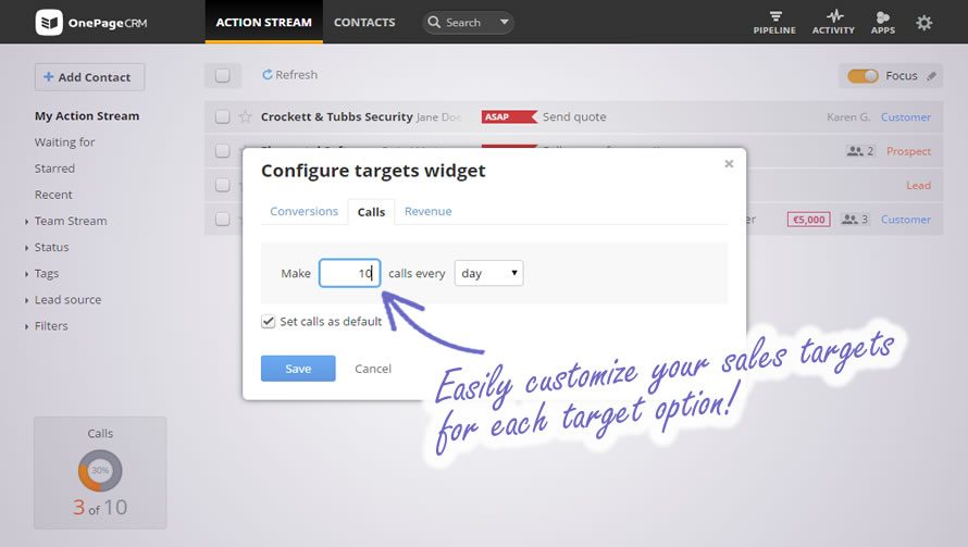 Motivational Targets Widget